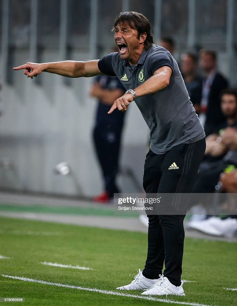 Head coach Antonio Konte of Chelsea reacts the friendly match between WAC RZ Pellets and Chelsea F.C. at Worthersee Stadion on July 20, 2016 in Velden, Austria.