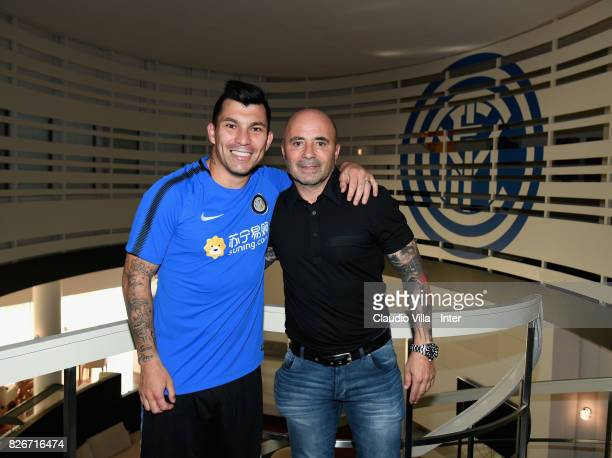 Head coach Argentina Jorge Sampaoli and Gary Medel of FC Internazionale pose for a photo at Appiano Gentile on August 3 2017 in Como Italy