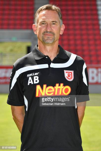 Head coach Armin Beierlorzer of Jahn Regensburg poses during the team presentation at Continental Arena on July 18 2017 in Regensburg Germany