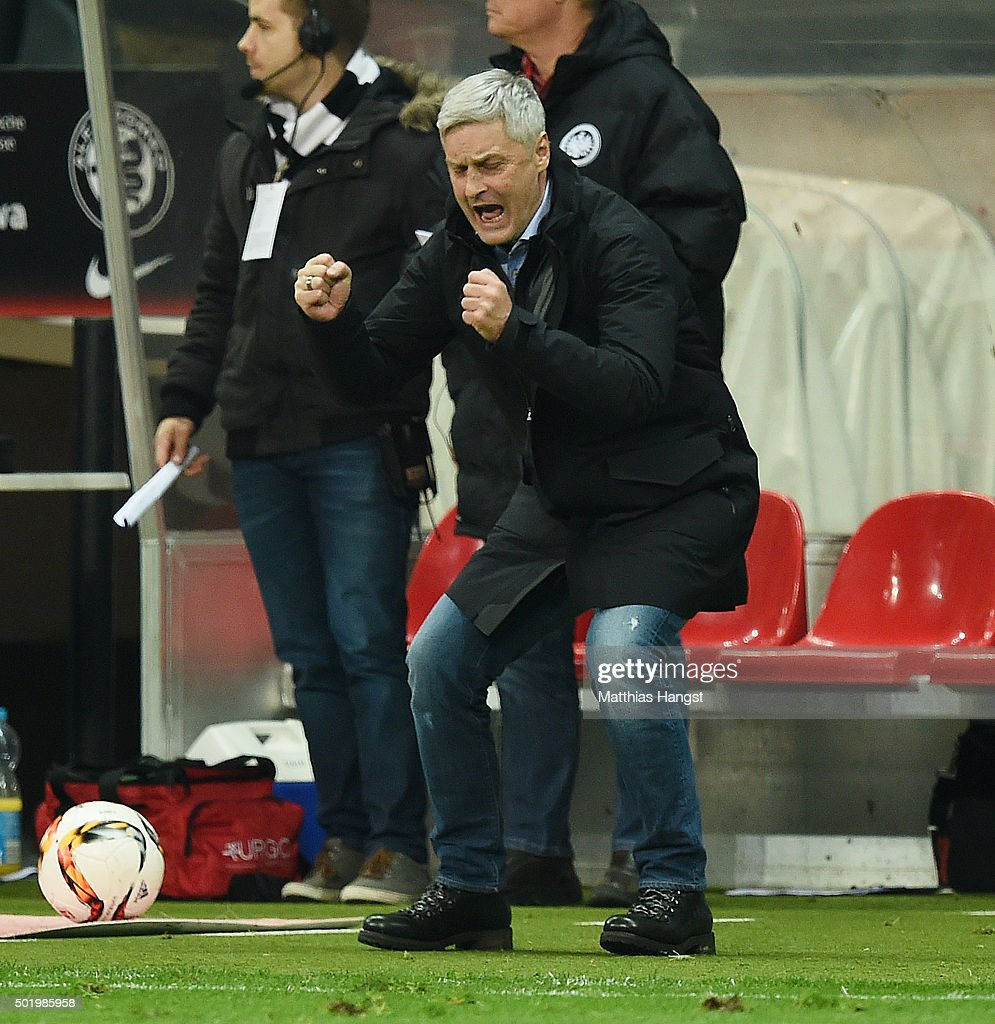 Head coach <a gi-track='captionPersonalityLinkClicked' href=/galleries/search?phrase=Armin+Veh&family=editorial&specificpeople=683317 ng-click='$event.stopPropagation()'>Armin Veh</a> of Frankfurt celebrates after the Bundesliga match between Eintracht Frankfurt and Werder Bremen at Commerzbank-Arena on December 19, 2015 in Frankfurt am Main, Germany.