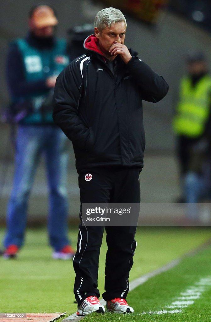 Head coach Armin Veh of Frankfurt reacts during the Bundesliga match between Eintracht Frankfurt and Borussia Moenchengladbach at Commerzbank-Arena on March 1, 2013 in Frankfurt am Main, Germany.