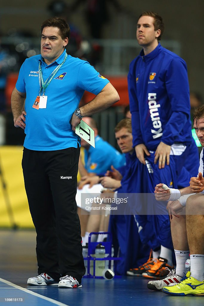 Head coach Aron Kristjansson of Iceland looks dejected during the round of sixteen match between Iceland and France at Palau Sant Jordi on January 20, 2013 in Barcelona, Spain.