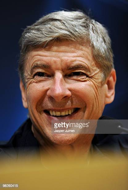 Head coach Arsene Wenger of Arsenal smiles as he talks to the media during a press conference ahead of their UEFA Champions League quarter final...