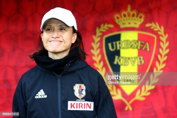 Head coach Asako Takakura of Japan looks on prior to the Women's International Friendly match between Belgium and Japan at Stadium Den Dreef on June...