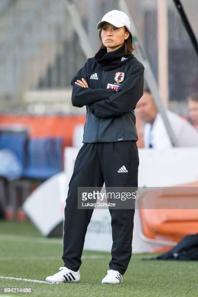 Head Coach Asako Takakura of Japan stays on the side line during the Women's International Friendly match between Netherlands and Japan at Rat...