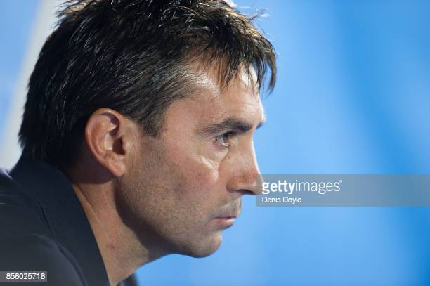 Head coach Asier Gaditano of CD Leganes looks on during the La Liga match between Leganes and Atletico Madrid at Estadio Municipal de Butarque on...