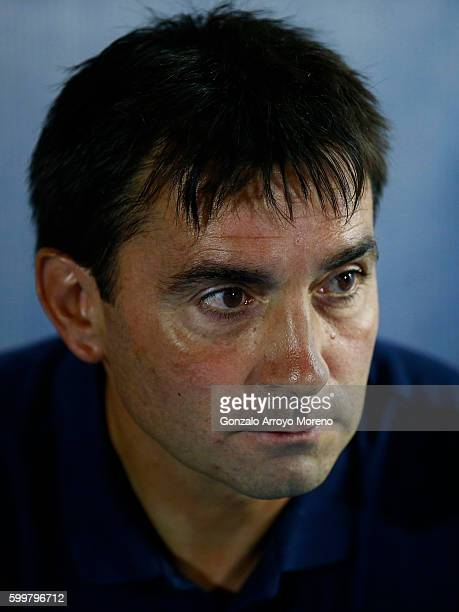 Head coach Asier Garitano of Deportivo Leganes looks on sitter on the bench prior to start the La Liga match between Club Deportivo Leganes and Club...