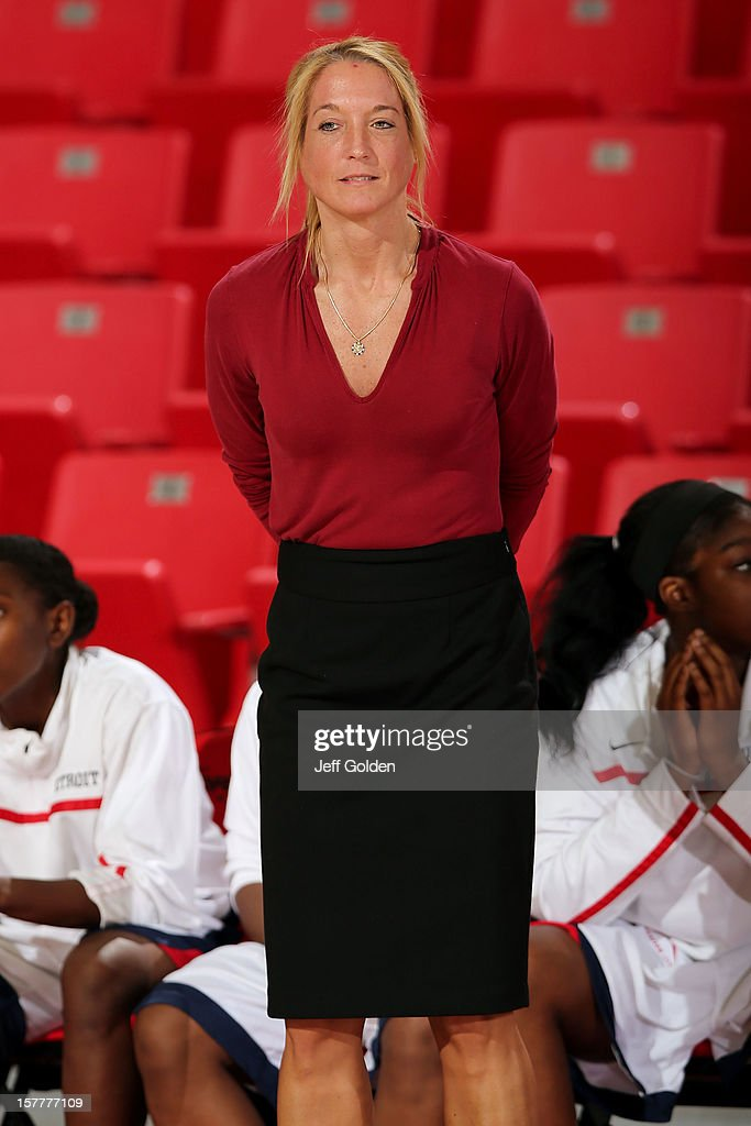 Head coach Autumn Rademacher of the Detroit Titans looks on against the South Alabama Jaguars at The Matadome on November 24, 2012 in Northridge, California. South Alabama defeated Detroit 59-56.