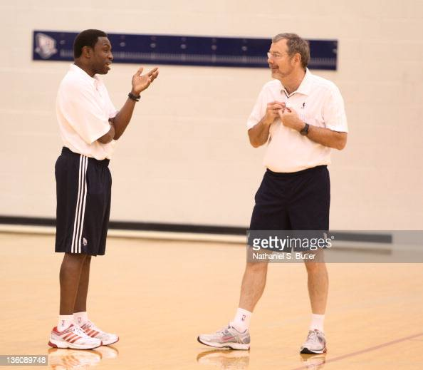 Head Coach Avery Johnson and Assistant Coach PJ Carlesimo of the New Jersey Nets during practice on December 23 2011 at the PNY Center in East...