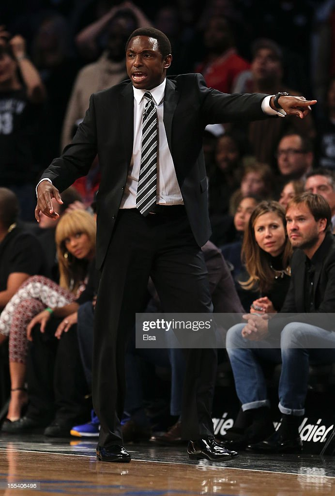 Head coach <a gi-track='captionPersonalityLinkClicked' href=/galleries/search?phrase=Avery+Johnson&family=editorial&specificpeople=201655 ng-click='$event.stopPropagation()'>Avery Johnson</a> of the Brooklyn Nets directs his players in the fourth quarter against the Toronto Raptors on November 3, 2012 in the Brooklyn borough of New York City. The Brooklyn Nets defeated the Toronto Raptors 107-100.