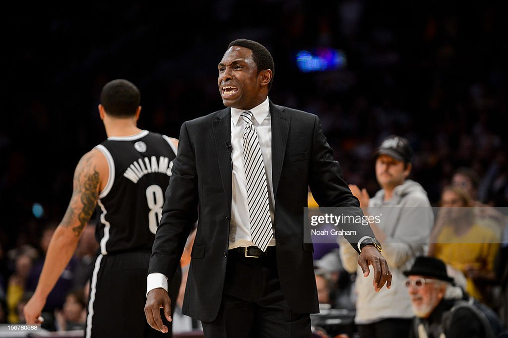 Head coach Avery Johnson of the Brooklyn Nets reacts during a game against the Los Angeles Lakers at Staples Center on November 20, 2012 in Los Angeles, California.