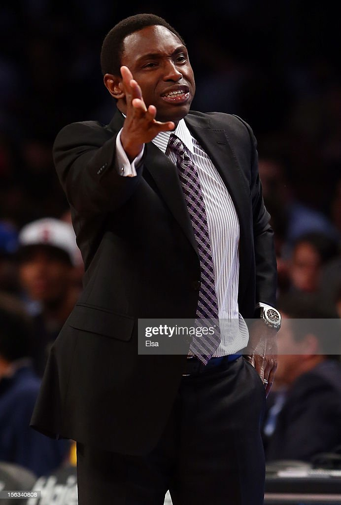 Head coach Avery Johnson of the Brooklyn Nets reacts to a call in the first half against the Cleveland Cavaliers on November 13, 2012 at the Barclays Center in the Brooklyn borough of New York City.