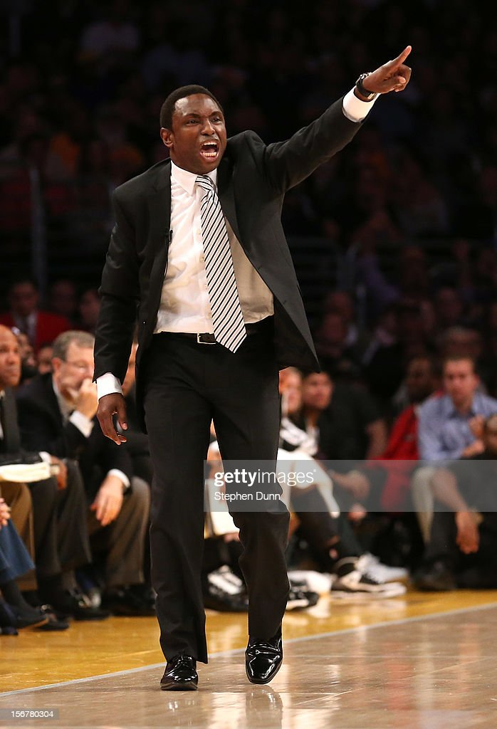 Head coach Avery Johnson of the Brooklyn Nets shouts intructions in the game with the Los Angeles Lakers at Staples Center on November 20, 2012 in Los Angeles, California. The Lakers won 95-50.