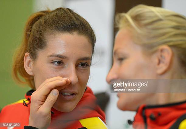 Head coach Barbara Rittner and Andrea Petkovic attend a DTB press conference prior to the Fed Cup match against Switzerland at Messe Leipzig on...