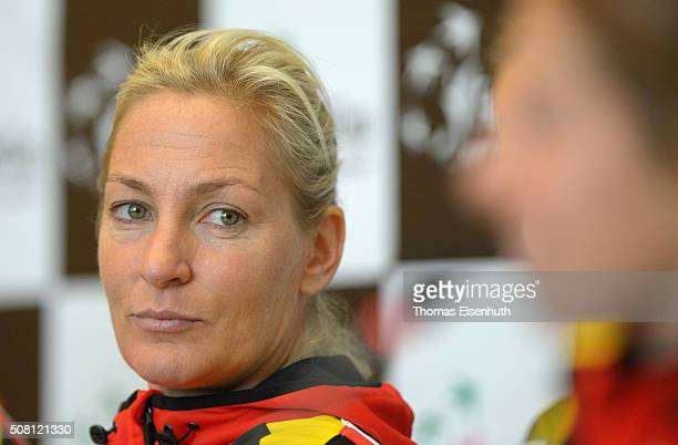 Head coach Barbara Rittner and Annika Beck attend a DTB press conference prior to the Fed Cup match against Switzerland at Messe Leipzig on February...