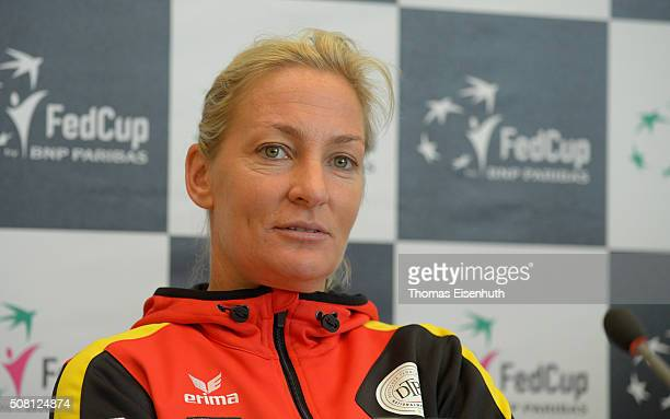 Head coach Barbara Rittner attends a DTB press conference prior to the Fed Cup match against Switzerland at Messe Leipzig on February 3 2016 in...