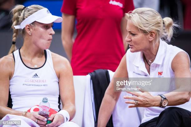 Head coach Barbara Rittner of Germany gives directions to Angelique Kerber during the FedCup World Group PlayOff Match between Germany and Ukraine at...
