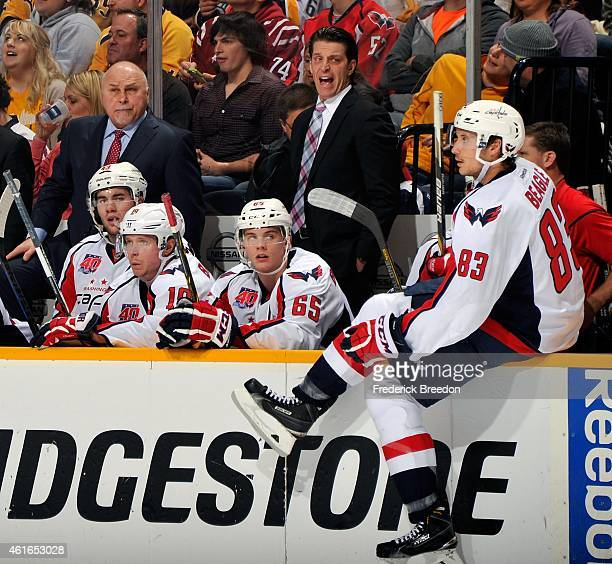 Head coach Barry Trotz and assistant coach Lane Lambert of the Washington Capitals reacts during a game against the Nashville Predators during the...