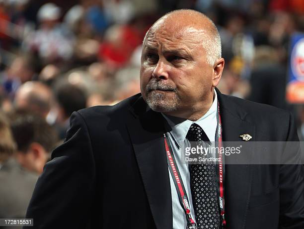 Head coach Barry Trotz of the Nashiville Predators attends the 2013 NHL Draft at Prudential Center on June 30 2013 in Newark New Jersey