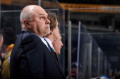 Head coach Barry Trotz of the Nashville Predators coaches his team against the Columbus Blue Jackets at the Bridgestone Arena on April 4 2013 in...