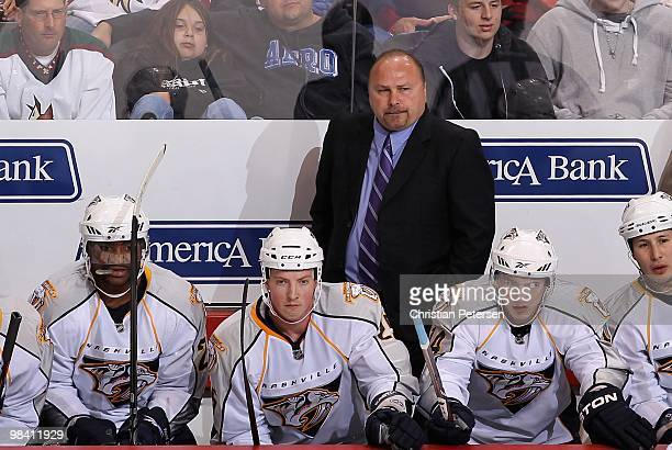 Head coach Barry Trotz of the Nashville Predators during the NHL game against the Phoenix Coyotes at Jobingcom Arena on April 7 2010 in Glendale...