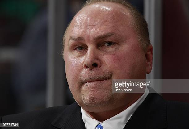 Head coach Barry Trotz of the Nashville Predators looks on from the bench during their game against the Vancouver Canucks at General Motors Place on...