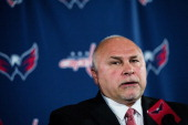 Head coach Barry Trotz of the Washington Capitals answers questions during his introductory press conference at the Verizon Center on May 27 2014 in...
