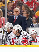 Head coach Barry Trotz of the Washington Capitals coaches against the Nashville Predators during an NHL game at Bridgestone Arena on January 16 2015...