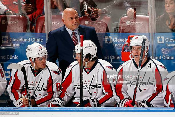 Head Coach Barry Trotz of the Washington Capitals directs his team from the bench against the Florida Panthers at the BBT Center on October 20 2016...