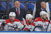 Head coach Barry Trotz of the Washington Capitals follows the action from the bench against the New York Rangers in Game One of the Eastern...