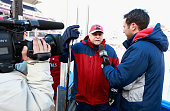 Head coach Barry Trotz of the Washington Capitals is interviewed during practice for the 2015 Bridgestone NHL Winter Classic on December 31 2014 at...