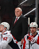 Head coach Barry Trotz of the Washington Capitals looks on against the New Jersey Devils during the game at the Prudential Center on December 6 2014...
