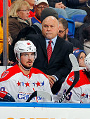 Head coach Barry Trotz of the Washington Capitals looks on against the New York Islanders on December 29 2014 at Nassau Veterans Memorial Coliseum in...