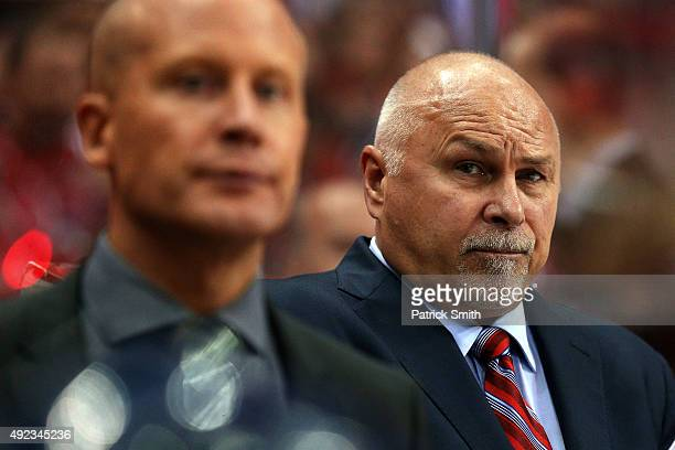 Head coach Barry Trotz of the Washington Capitals looks on against the New Jersey Devils at Verizon Center on October 10 2015 in Washington DC The...