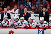 Head coach Barry Trotz of the Washington Capitals looks on during the NHL game against the Arizona Coyotes at Gila River Arena on November 18 2014 in...