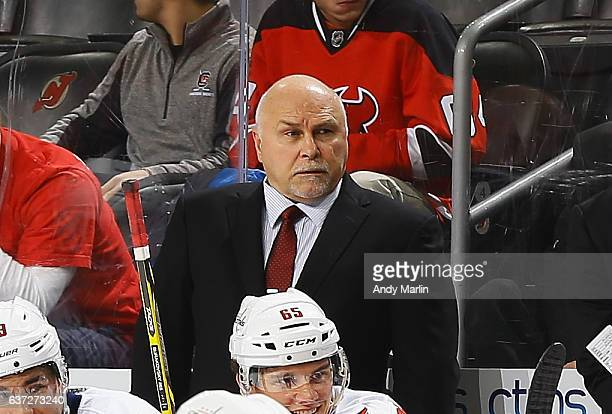 Head coach Barry Trotz of the Washington Capitals looks on during the game against the New Jersey Devils at Prudential Center on December 31 2016 in...