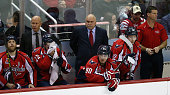 Head coach Barry Trotz of the Washington Capitals looks on durng the second period against the Dallas Stars at Verizon Center on March 13 2015 in...