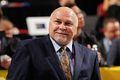 Head Coach Barry Trotz of the Washington Capitals looks on from the draft floor during the 2015 NHL Draft at BBT Center on June 27 2015 in Sunrise...