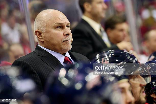 Head coach Barry Trotz of the Washington Capitals looks on in the first period during a NHL game against the Colorado Avalanche at Verizon Center on...