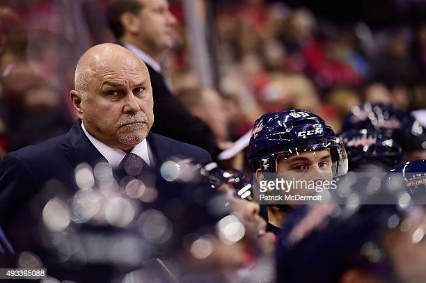 Head coach Barry Trotz of the Washington Capitals reacts on the bench in the third period during an NHL game against the Carolina Hurricanes at...