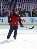 Head Coach Barry Trotz of the Washington Capitals skates during practice day prior to the 2015 Bridgestone NHL Winter Classic on December 31 2014 in...