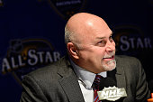 Head Coach Barry Trotz of the Washington Capitals speaks during Media Day for the 2016 NHL AllStar Game at Bridgestone Arena on January 29 2016 in...