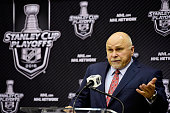 Head coach Barry Trotz of the Washington Capitals speaks to members of the media after the Capitals defeated the Philadelphia Flyers 20 in Game One...