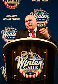 Head coach Barry Trotz of the Washington Capitals speaks to the media during the press conference after the 2015 Bridgestone NHL Winter Classic...