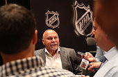 Head Coach Barry Trotz of the Washington Capitals speaks with the media during a press availability at the Encore Ballroom on June 21 2016 in Las...