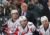 Head coach Barry Trotz of the Washington Capitals watches the action during an NHL game against the Buffalo Sabres on December 28 2015 at the First...