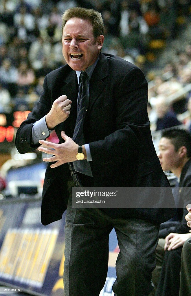 Head coach Ben Braun of the California Golden Bears argues a call against the USC Trojans on February 19 2004 at Haas Pavilion in Berkeley California