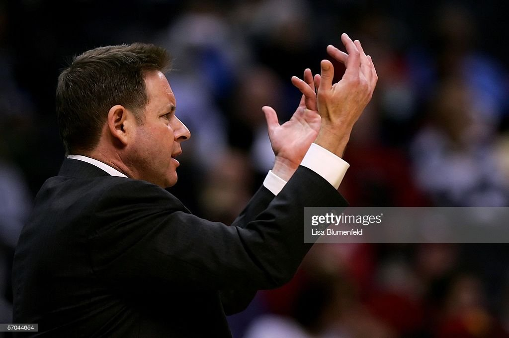 Head coach Ben Braun of the California Golden Bears gestures to his team during the firsthalf NCAA action against the USC Trojans in the...