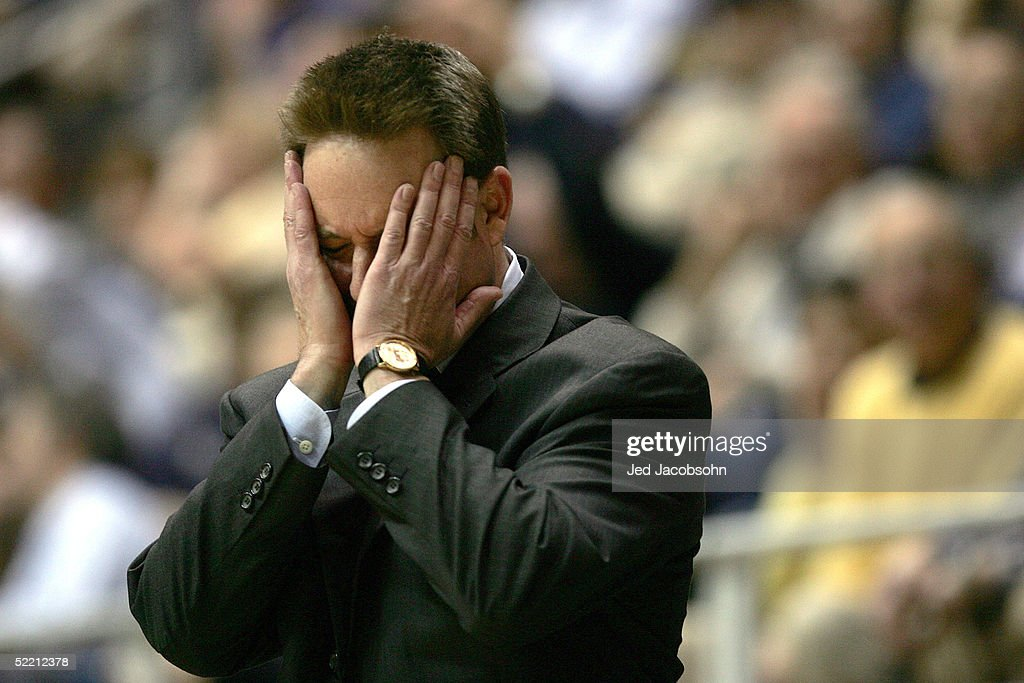 Head coach Ben Braun of the California Golden Bears reacts to a call during the Pac 10 game against the UCLA Bruins on February 17 2005 at Haas...