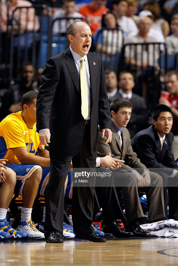 Head coach Ben Howland of the UCLA Bruins reacts as he coaches against the Florida Gators during the third round of the 2011 NCAA men's basketball tournament at St. Pete Times Forum on March 19, 2011 in Tampa, Florida. Florida won 73-65.
